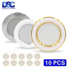 Conjunto de lámparas LED redondas de techo, iluminación interior descendente, panel de focos empotrados, 220V, 5W, 9W, 12W, 15W, 18W, lote de 10 uds.