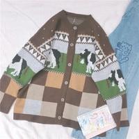 Mori Girl Lolita Cute Cow Plaid Pattern Knitted Sweater Japanese Korean Women Long Sleeve Vintage Cardigan Coat Knitwear