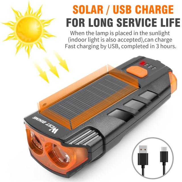 Светодиодный водонепроницаемый велофонарь с зарядкой через USB, 120 дБ Предупреждение WEST BIKING, 2000 мАч 2