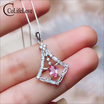 CoLife Jewelry 925 Silver Pink Sapphire Pendant for Office Woman 4*6mm Natural Pink Sapphire Pendant Fashion Sapphire Jewelry
