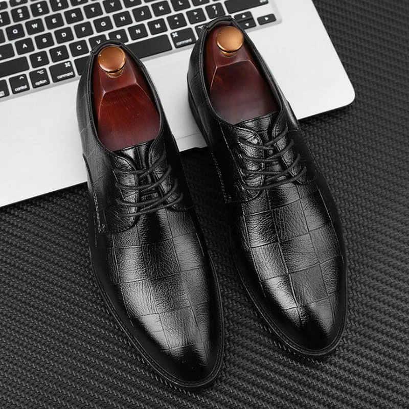 Handmadeอิตาเลี่ยนสไตล์Retroหนังผู้ชายธุรกิจอย่างเป็นทางการOxfordsรองเท้าผู้ชายรองเท้าขนาดใหญ่2020 Uu78