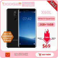 Origina DOOGEE X60L 5.5 ''MTK6737 czterordzeniowy 2GB RAM 16GB ROM 4G podwójny aparat 13.0MP Android 7.0 3300mAh odcisk palca Smartphone