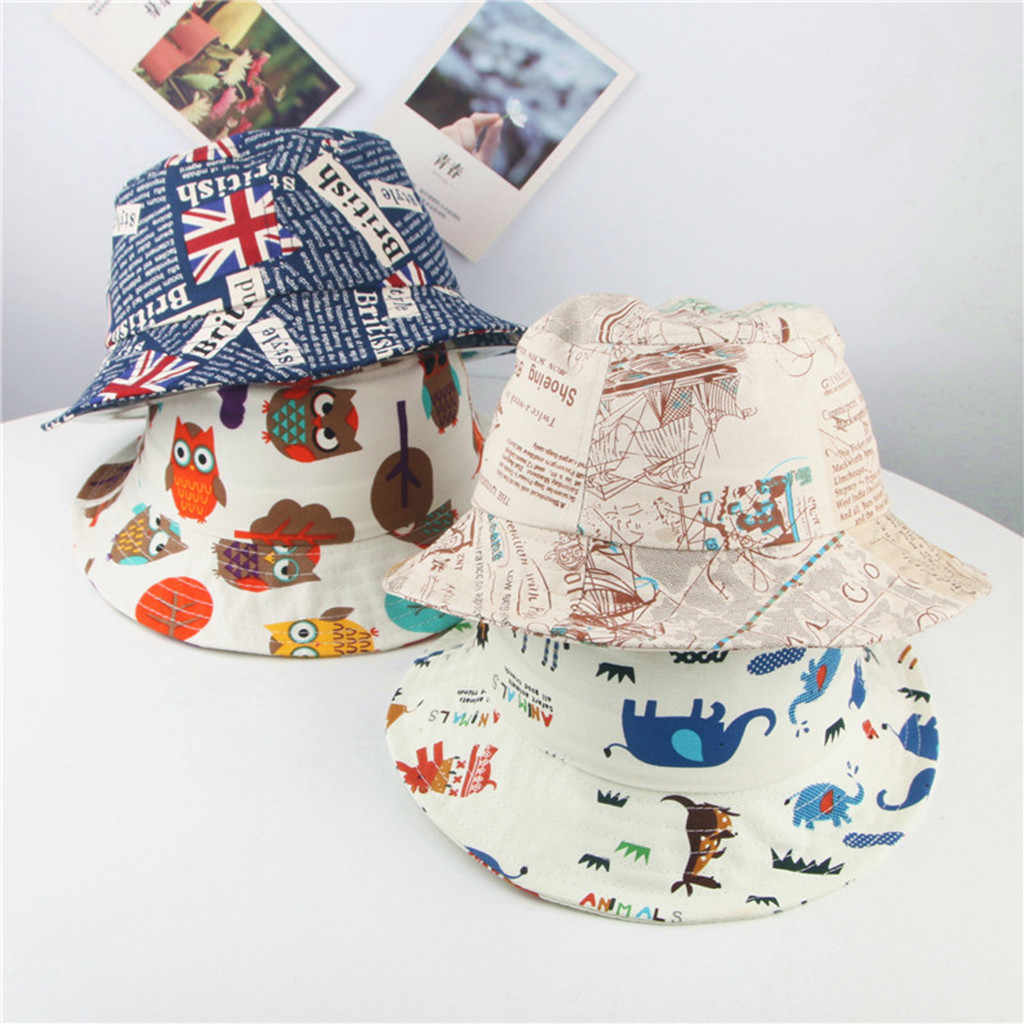 2019 New Toddler Baby Kids Girls Boys Cartoon Character Print Letter sunhat Breathable Hat Bucket Cap baby hat шапка детская