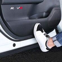Suitable 4PCS For Rav4 2020 Modified Door Anti kick Pad, Carbon Fiber Texture Sticker , Anti kick Leather Interior Decoration