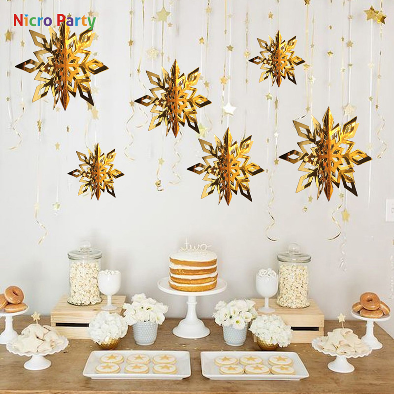 Nicro 6 Colors 6 Pcs/set Three-dimensional Snowflake Christmas Decorations For Home 3Dkerst Party Store Window Decor  #PG76