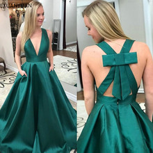 High Quality Satin Prom Dress with Pleats Deep V-Neck Sexy G
