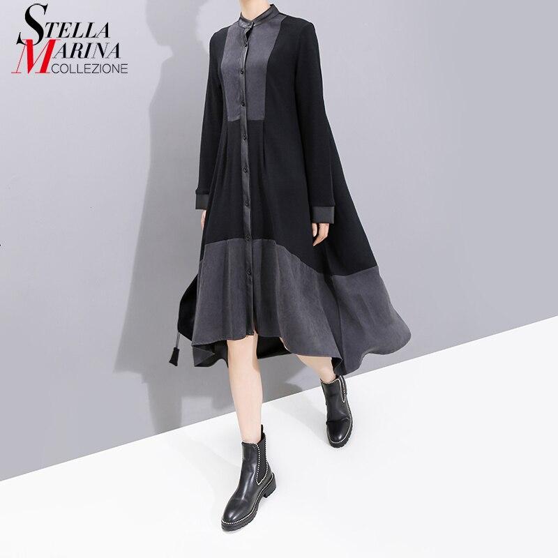 Nouveau 2019 européenne mode pleine manches femmes hiver noir chemise Robe avec ceintures Patchwork dames élégant Robe de soirée 5743