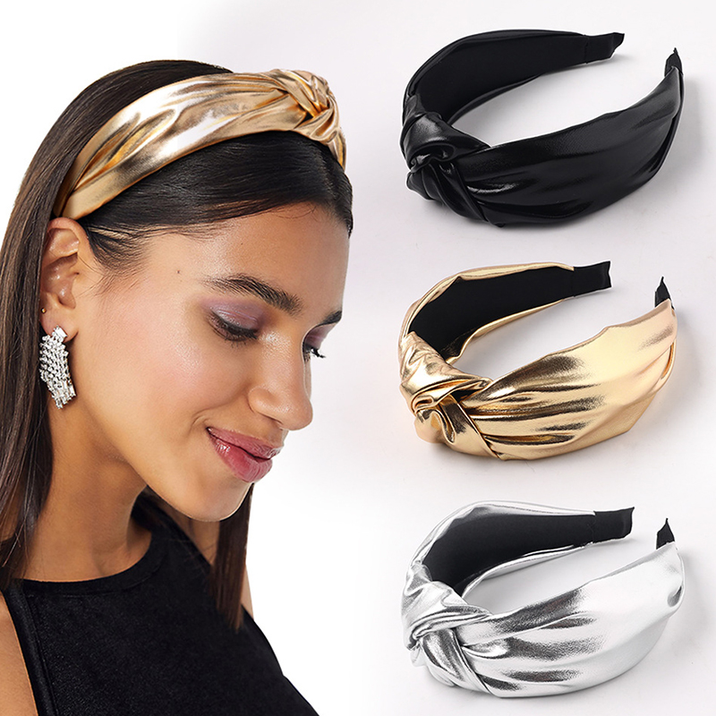 Hot Sale Hairbands Black White PU Headband Front Knot Solid Color Hairbands Headband Women Headwear Hair Accessories Headband