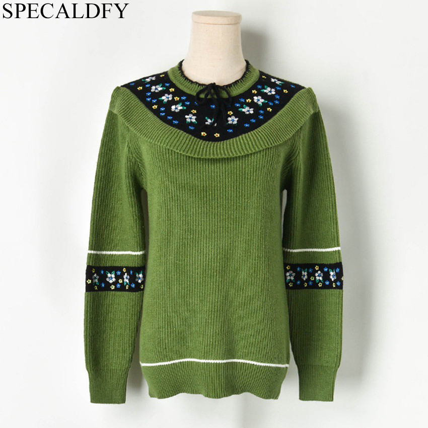 Women Oversized Sweater Floral Embroidery Bohemian Vintage Pullover 2019 Autumn Winter Long Sleeve Knitted Sweaters Tops Jumper