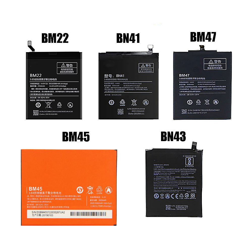 Original <font><b>Battery</b></font> For <font><b>Xiaomi</b></font> <font><b>MI</b></font> 5 <font><b>Batteries</b></font> BM45 BM47 BN43 BM22 BN41 <font><b>Battery</b></font> For <font><b>Xiaomi</b></font> Redmi 3 3S 3X <font><b>4</b></font> Note 2 Note <font><b>4</b></font> Note 4X image