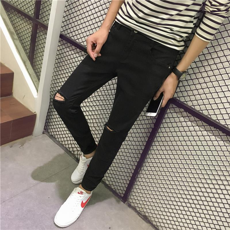 Spring Summer Men's Knee With Holes Jeans Men's Skinny Capri Slim Women's Ripped Jeans Tight Elasticity Casual Pants