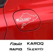 Autocollants de bouchon de réservoir de carburant de voiture pour Skoda Octavia 2 A7 A5 Fabia Kamiq Karoq Kodiaq rapide Roomster Scala superbe Auto accessoires en vinyle