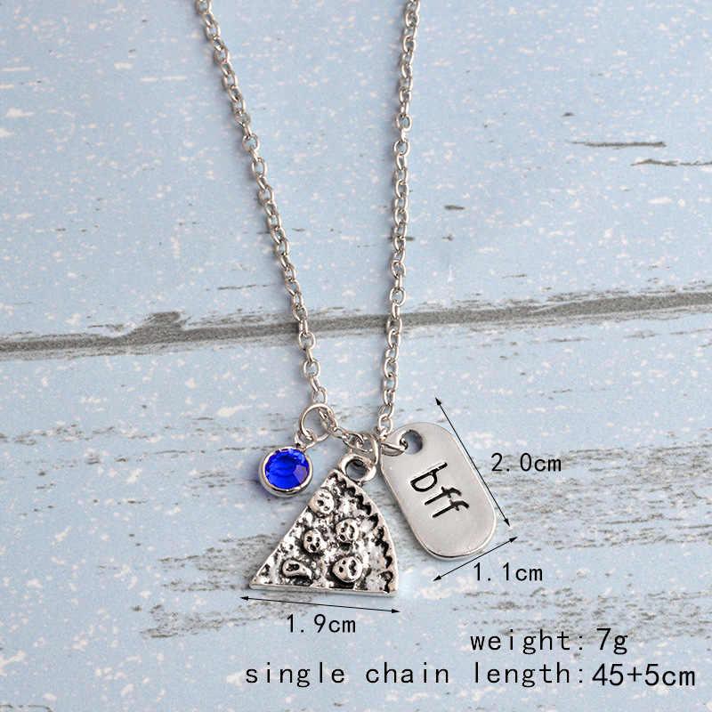 Chicvie Kustom Pizza BFF Liontin Kalung Teman Terbaik Selamanya Kalung Kristal Persahabatan Peringatan Kalung SNE190179