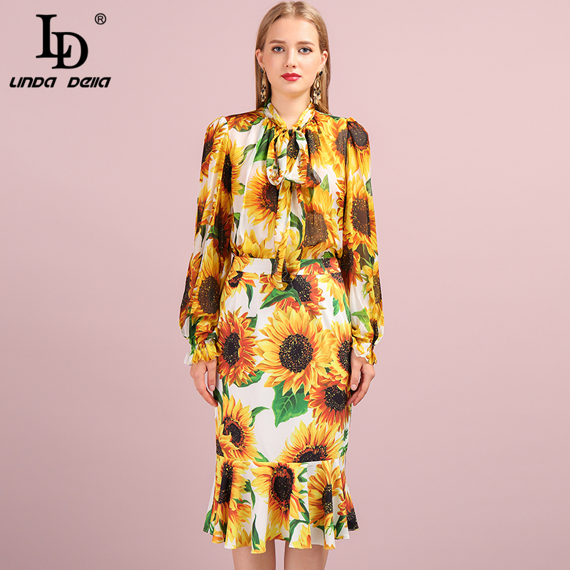 LD LINDA DELLA Autumn Fashion Suits Women's Sunflower Print 100% Silk Shirt And Mermaid Ruffles Skirt Two Pieces Sets 2019
