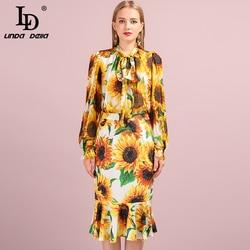 LD LINDA DELLA Autumn Fashion Suits Women's Sunflower Print 100% Silk Shirt and Mermaid Ruffles Skirt Two Pieces Sets 2019