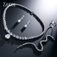 ZAKOL luxe brillant clair goutte deau et rond cubique zircone boucle doreille collier ensemble pour mariée mariage ensemble de bijoux FSSP004