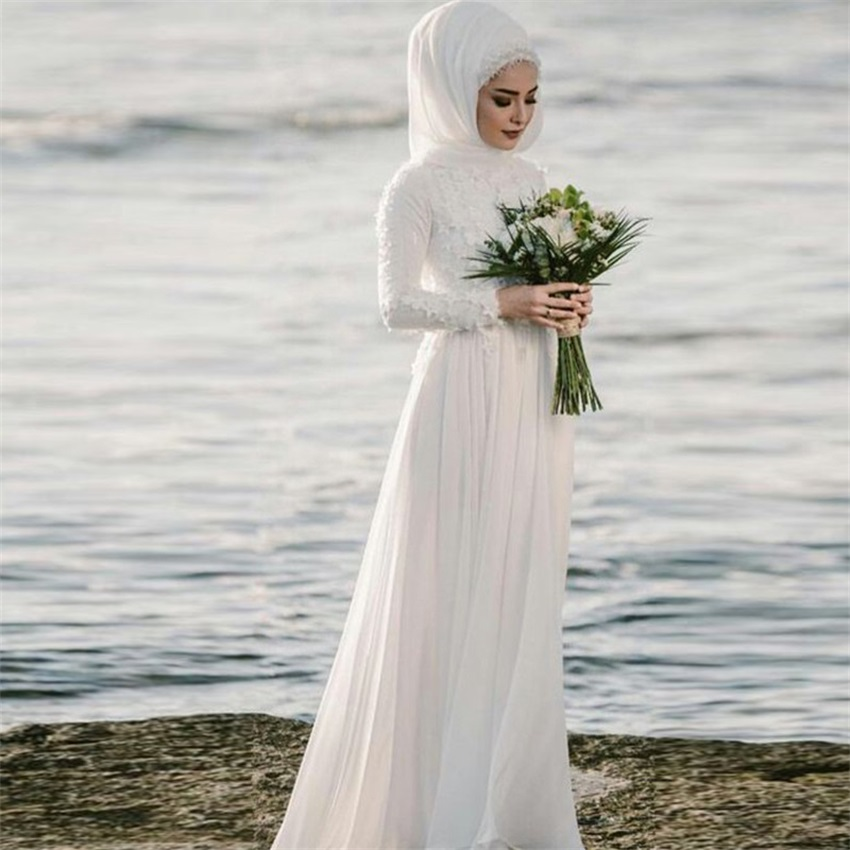 NUOXIFANG Long Sleeves Muslim Wedding Dresses With Hijab A-Line Princess Jewel Applique Chiffon Floor-Length Arabic Gelinlik