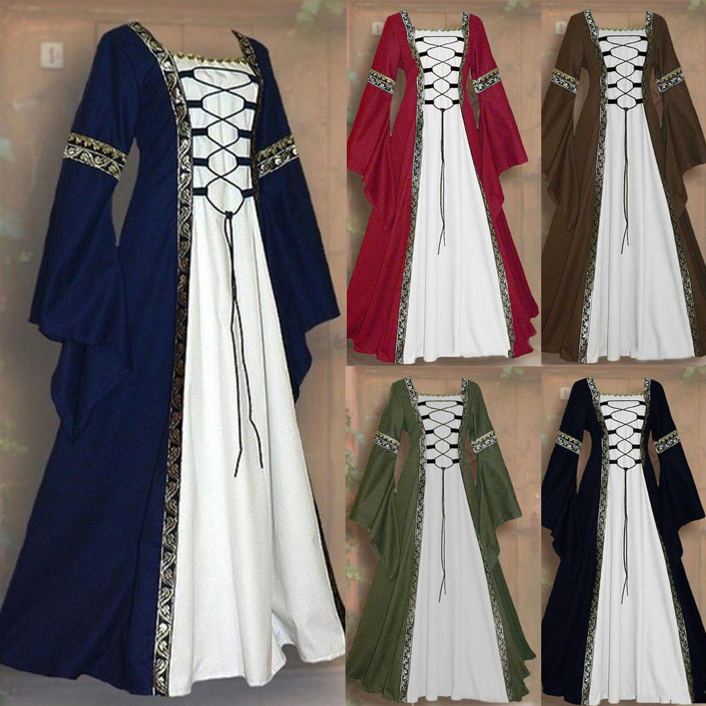 Maxi Ruffled Dresses Women s Vintage Celtic Medieval Floor Length Renaissance Gothic Cosplay Dress Ladies Elegant