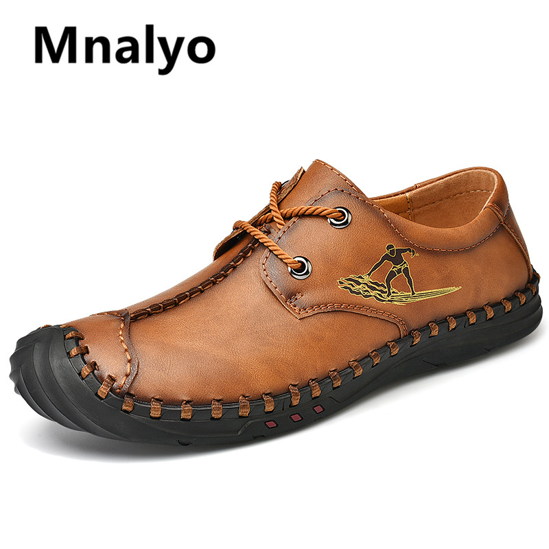 2020 New Men Casual Shoes Handmade Leather Loafers Comfortable Men's Shoes Quality Split Leather Flat Moccasins Men Sneakers