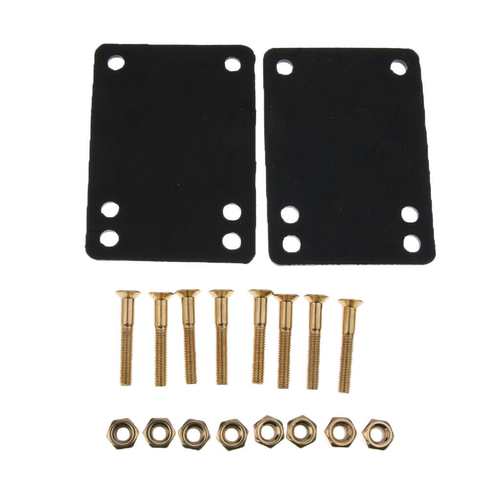 "2pcs Skateboard Longboard 1/8"" Rubber Risers Pads + 1pcs 1"" Hardware Truck Screws"