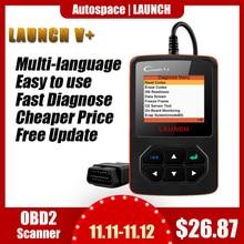 Lançamento x431 creader v + obd obd2 scanner automotivo leitor de código de falha com multi idioma odb2 ferramenta de diagnóstico do carro scanner automático
