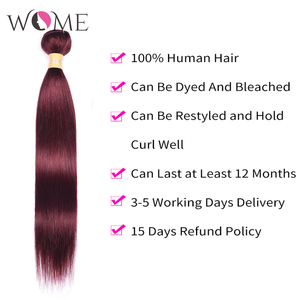 Image 4 - WOME Pre colored 99j Red Wine Burgundy Human Hair Bundles With 4x4 Lace Closure Malaysian Straight Hair Extension Non remy