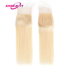 Straight 613 Blonde 4x4 Lace Closure Brazilian Virgin One-Donor Human Hair Ali Queen 13x4 Lace Frontal Free Part Pre-Plucked