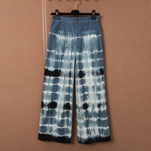 2021 New Fashion Runway Design Wide Leg Pants Women Blue Gradient Tie-dye Stripe Pattern Loose Ankle Length Chic Trousers Y485