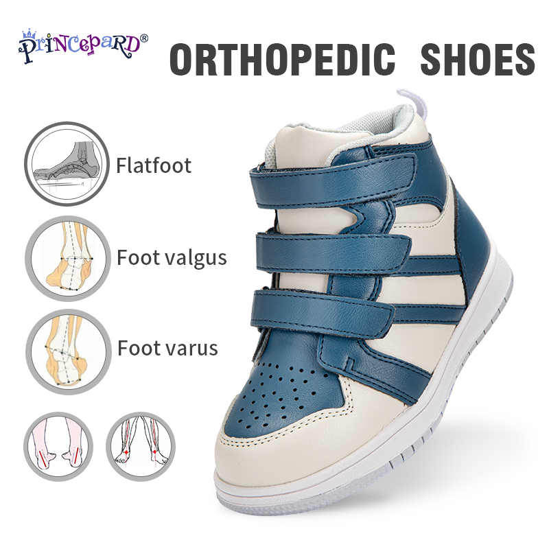 Princepard Orthopedic Shoes For Boys Girls Genuine Leather Children First Walkers Sneakers For Arch Support Care Correction