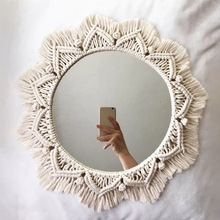 Home Decor Macrame Mirror Handmade Tapestry Makeup Mirror Compact Bohemia Decoration Home Bedroom Decorative Mirrors Wall Mirror