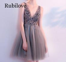 Rubilove European and American banquet dress 2019 new sexy ladies deep V-neck birthday party gray short skirt summer