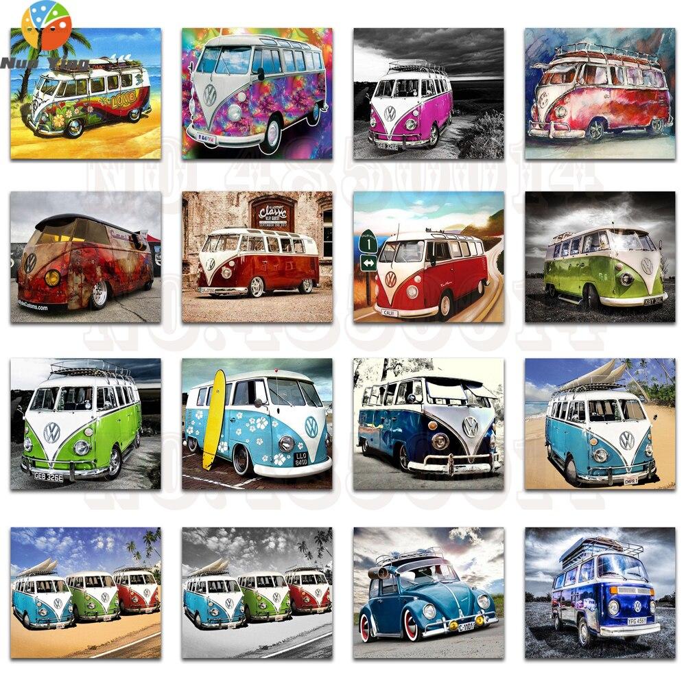 Полноформатная круглая Алмазная мозаика, цветные автомобили, полноформатная Алмазная вышивка, мультяшный автомобиль, «сделай сам», 3D Алмаз...