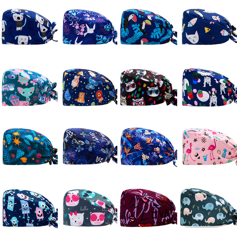 Surgical Cap Female And Male Operating Room Printing Operating Room Baotou Cap Oral Dental Hat Pure Cotton Thin Section