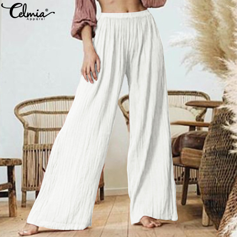 Fashion Women's   Pants   2019 Celmia Female High Waist Pleated   Wide     Leg     Pants   Casual Loose Long Trousers Solid Work Pantalon S-5XL