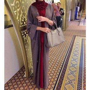 Open Abaya Muslim Women Prayer Maxi Robe Jilbab Thobe Arab Kaftan Dubai Ramadan Islamic Clothing Beading Gown Kimono Middle East