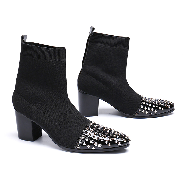 New Style Black Rivet Slip-on Ankle Boot Fashion Mid Heel Socks Shoes Pointed Toe Martin Boots Men Size 38-46