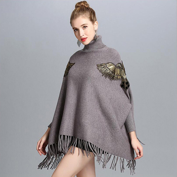 Bat Sleeve Turtleneck Knitted Sweater Poncho Female Fashion Embroidery Tassel Mid-length Sweater Poncho Pullover Women Spring 1