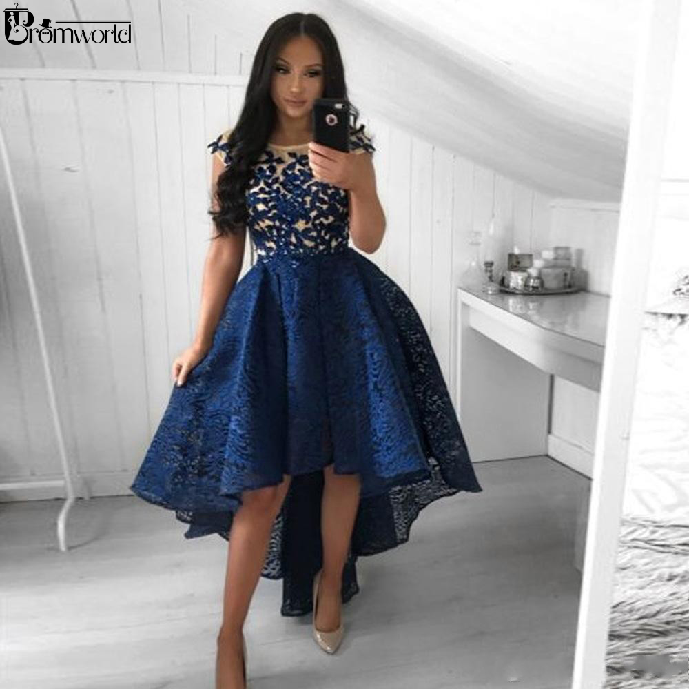 Sexy High low Lace Navy Blue Homecoming Dresses Formal Party Dresses 2021 Embroidery vestido graduacion Robe De Cocktail Chic