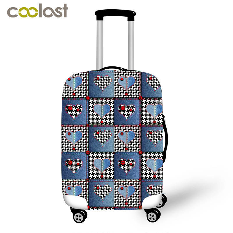 Denim Patchwork Trolly Suitcase Covers Pet Cat Dog Thick Luggage Protective Covers Elastic Valise Case Cover Travel Accessories