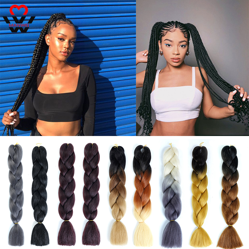 MANWEI Ombre Jumbo Synthetic Braiding Hair Extension Box Braids Hair Pink Purple Yellow Golden Colors Crochet Braids Kanekalon