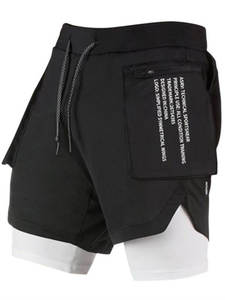 Fitness Shorts Training Jogging Sport Mens Summer Quick-Dry 2-In-1 New-Color