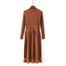 Sweet Lace Stiching Autumn Winter Women Dress Thick Warm Long Straight Maxi Mid-calf Retro Drawstring Rib Knitted