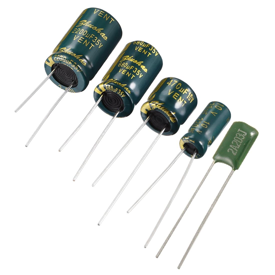 Uxcell  10V 16V 35V 50V 38 Electrolytic Capacitor For DIY Project Soldering 220 470 680 1000 1500uF