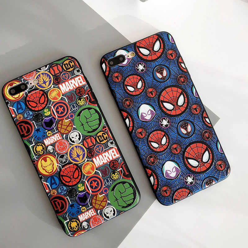Capa protetora de volta para iphone 7 8 6s mais fundas coque caixa de telefone legal marvel spiderman para iphone xr xs max x macio imd