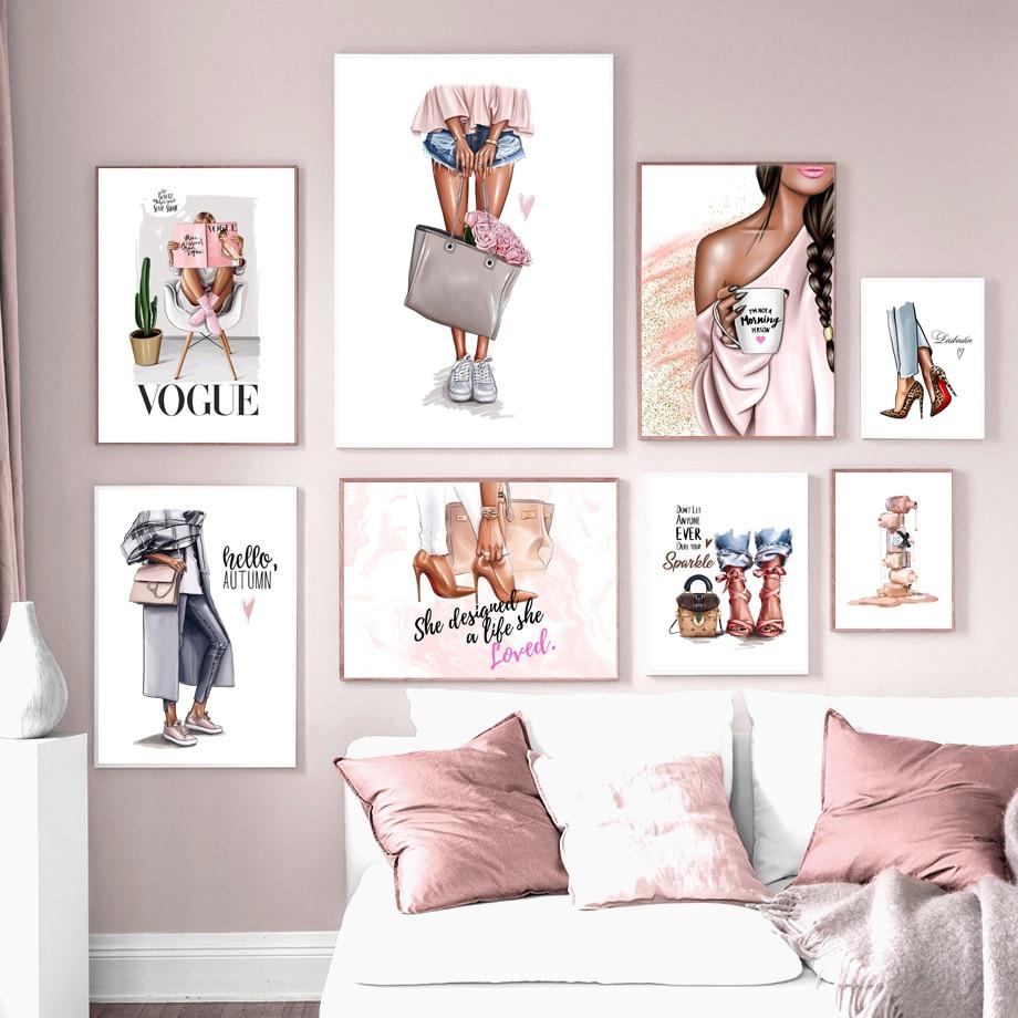 Handbag Nail Polish Fashion Girl High Heels Nordic Posters And Prints Art Canvas Painting Wall Pictures For Living Room Decor