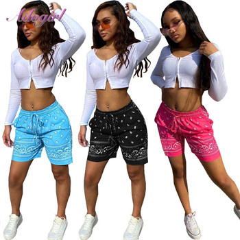 Women Shorts Causal Bandana Print High Waist Drawstring With Pocket Summer Shorts Sportwear Legging Outfit Streetwear Trousers 1