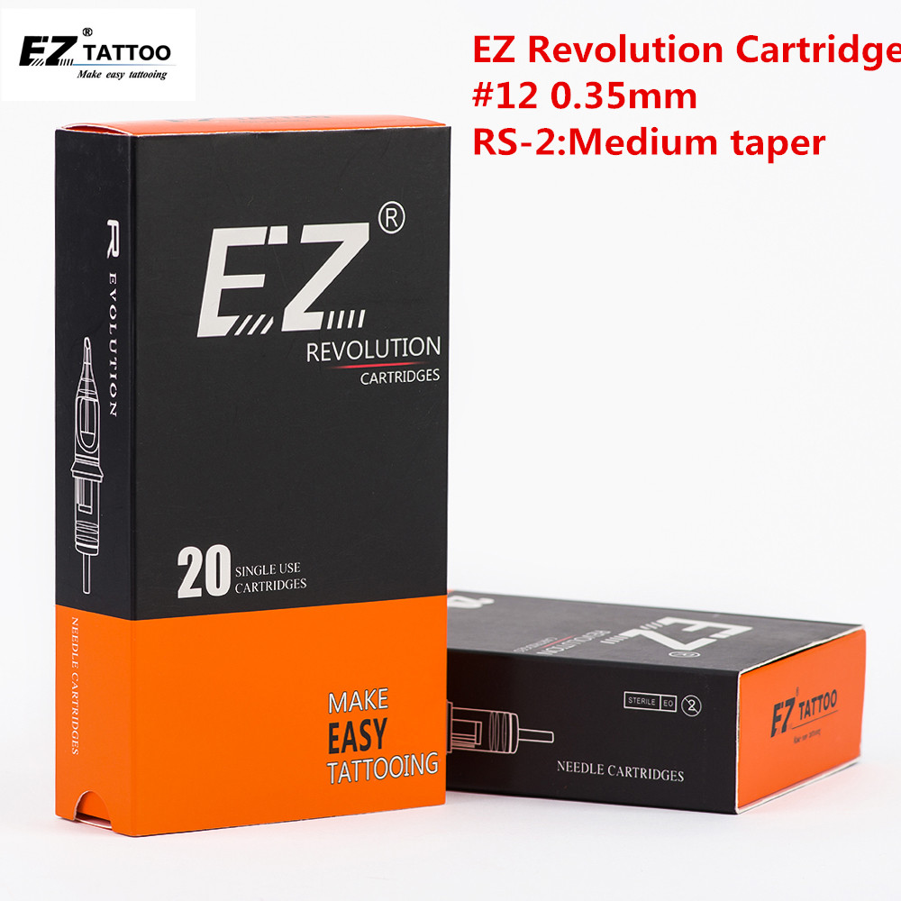 EZ Revolution Tattoo Needles Cartridge  Round Shaders # 12 0.35mm Medium Taper 3.5 Mm Tattoo Accessories Supply 20 Pcs /box
