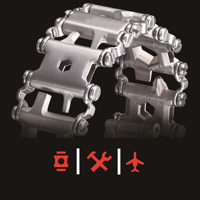 Weilian 29 In 1 Multifunctional Tread Bracelet Stainless Steel Outdoor Bolt Kits Wearable Tool Multitool Hand Tools Set EDC