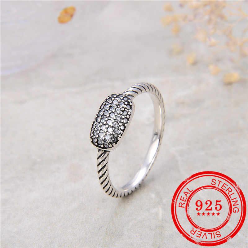 100% スターリングシルバー 925 リング象眼細工のジルコンレトロシルバーオープンリング女性の結婚式のギフトファッションジュエリー