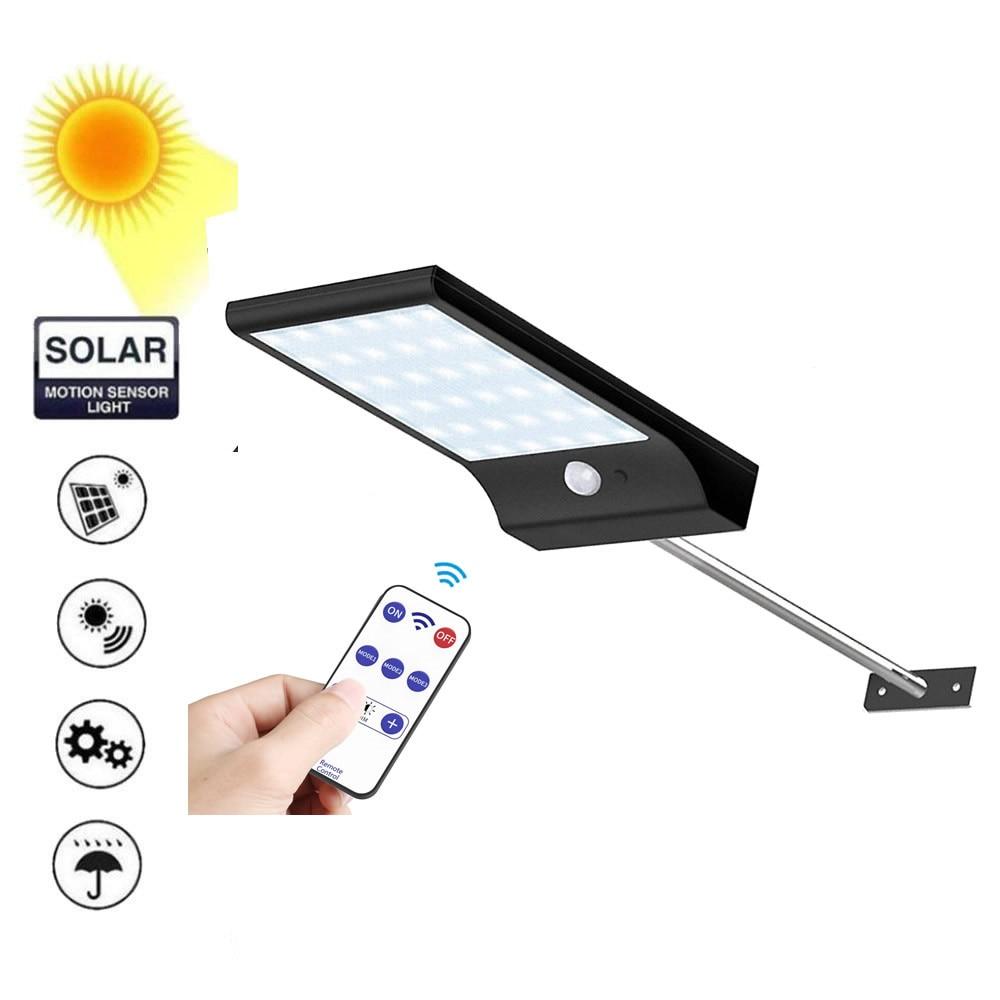 LED Solar Light PIR Motion Sensor Waterproof Outdoors Garden Solar Powered Street Wall spot flood lamp metal pole remote control